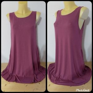 Boutique Purple Stretchy Tank Dress with Pockets